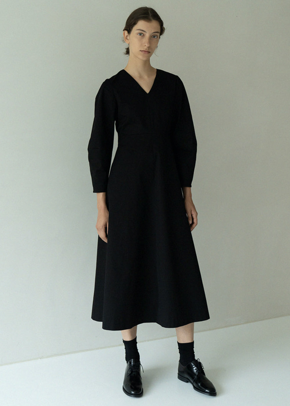 BACK POINT COTTON DRESS BLACK