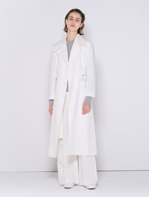 LINEN DOUBLE COAT WHITE