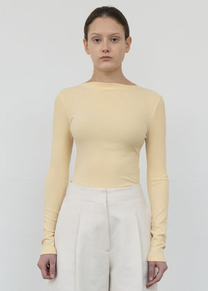 BOATNECK TWILL T SHIRT YELLOW
