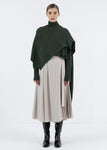 WOOL MUFFLER TURTLENECK SWEATER KHAKI