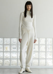 NATURAL WOOL TURTLENECK TOP IVORY