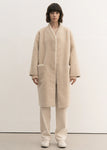 NO COLLAR SHEARING COAT IVORY