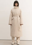 HIGH NECK LONG PADDING COAT BEIGE