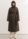 HIGH NECK LONG PADDING COAT BROWN