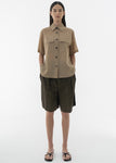 SUMMER WOOL HALF SLEEVE SHIRTS BEIGE