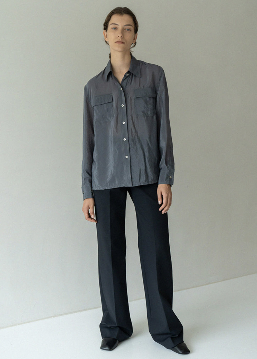 SATIN POCKET SHIRTS GREY