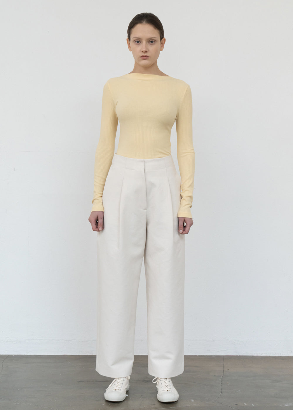 WIDE CURVE PANTS CREAM