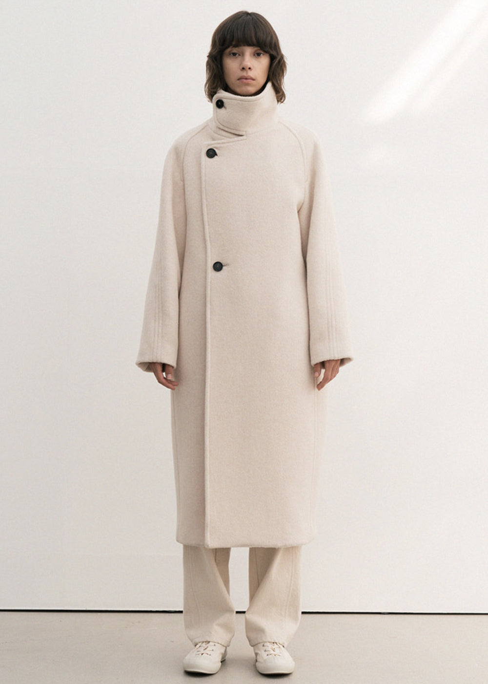 ALPACA HIGH NECK LONG COAT CREAM