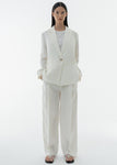 LINEN BACK SLIT JACKET WHITE