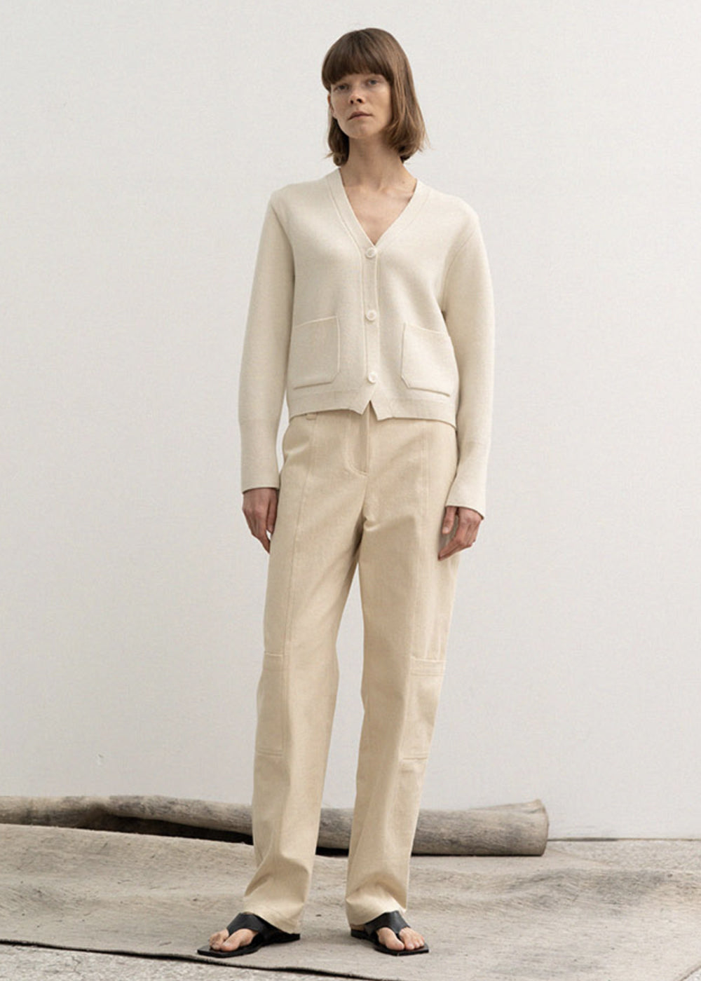 COTTON SECTION STITCH PANTS BEIGE