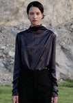 STRING SHIRRING TURTLENECK TOP CHARCOAL