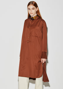STITCHED SHIRT DRESS BROWN