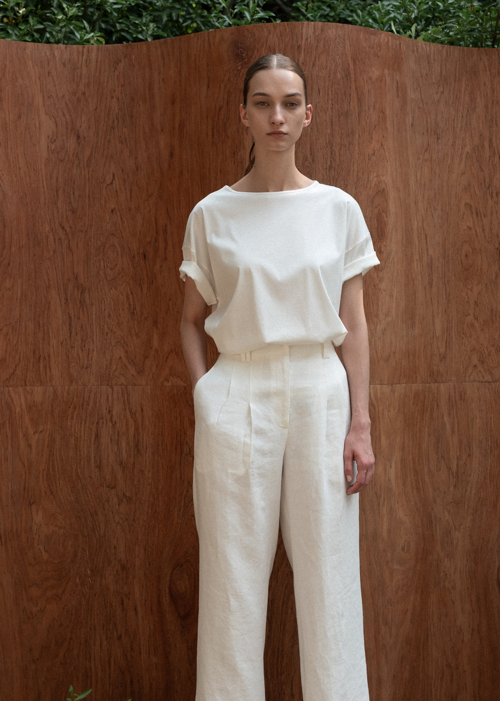 TWO PLEATS WIDE PANTS WHITE