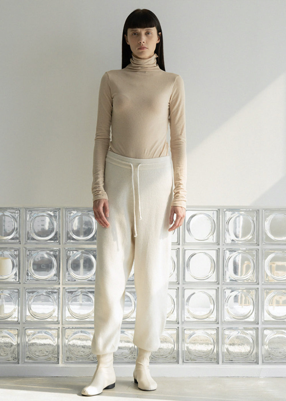 NATURAL WOOL TURTLENECK TOP BEIGE