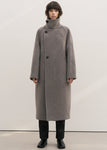 ALPACA HIGH NECK LONG COAT GREY