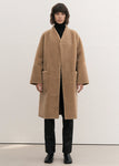 NO COLLAR SHEARING COAT BEIGE