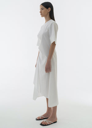 SHIRRING UNBALANCE COTTON DRESS WHITE