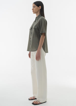 SUMMER WOOL HALF SLEEVE SHIRTS LIGHT KHAKI