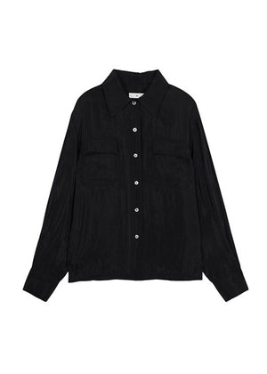 SATIN POCKET SHIRTS BLACK