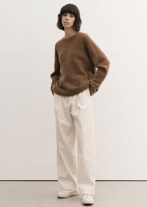 RACCOON WHOLEGARMENT ROUND SWEATER CAMEL