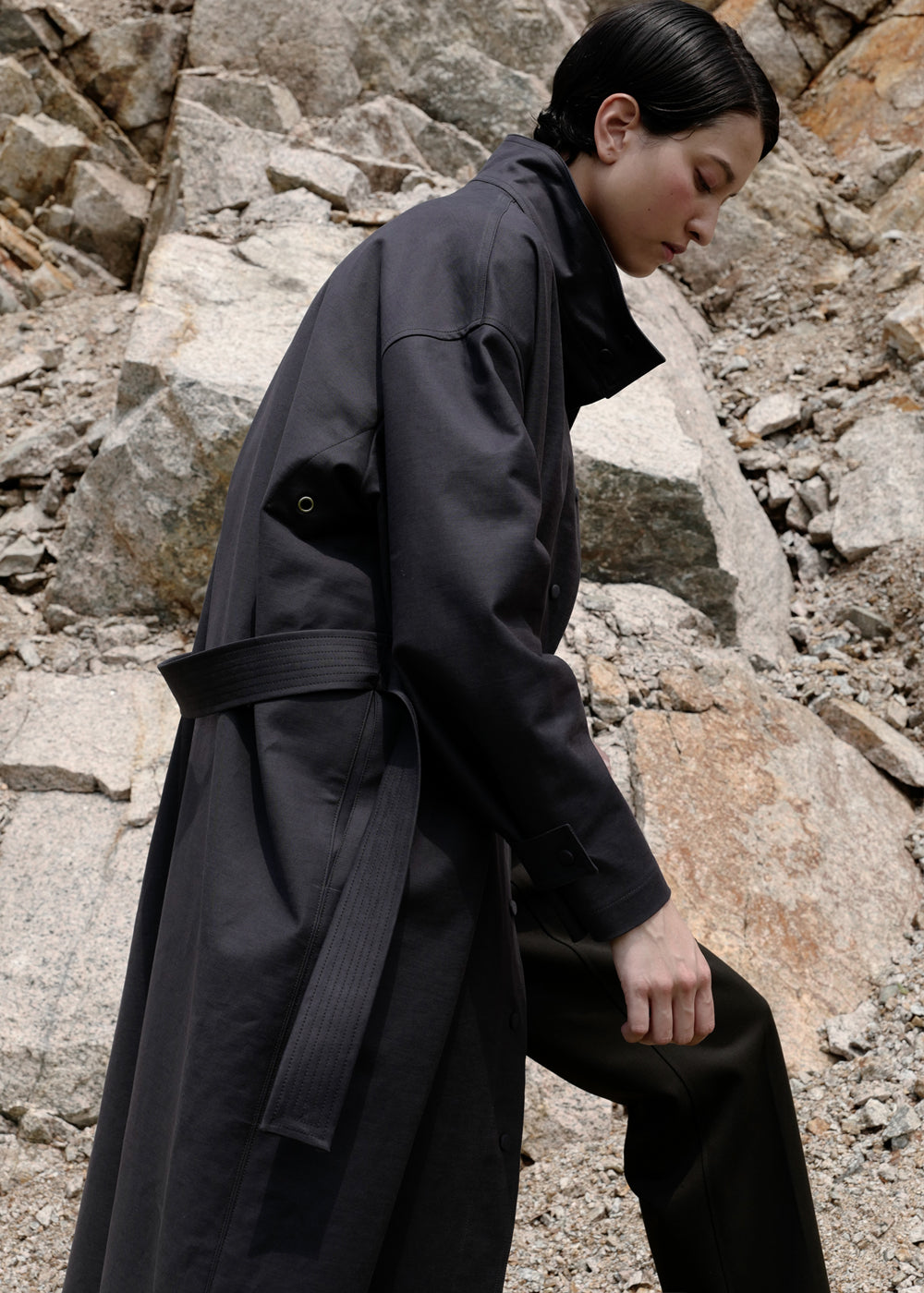 BELTED COTTON COAT CHARCOAL