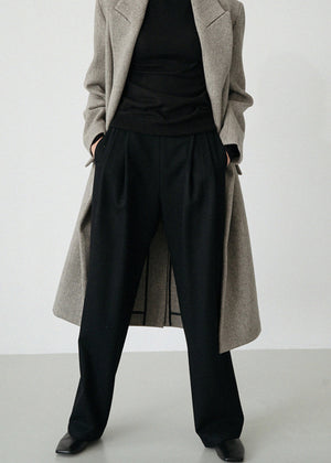 LE WOOL BAND PANTS BLACK