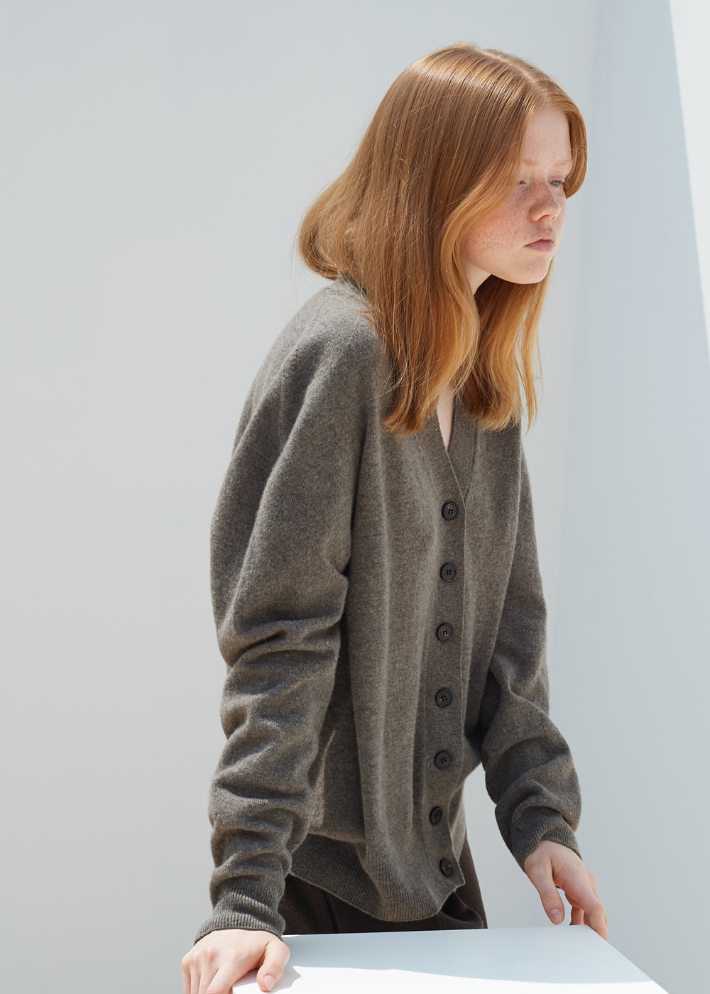 WHOLEGARMENT CASHMERE CARDIGAN BROWN