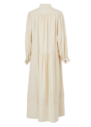 SHIRRING LONG DRESS CREAM