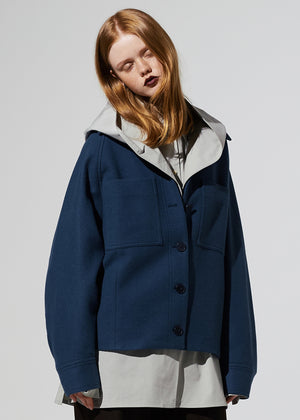 WOOL OVERFIT JACKET BLUE