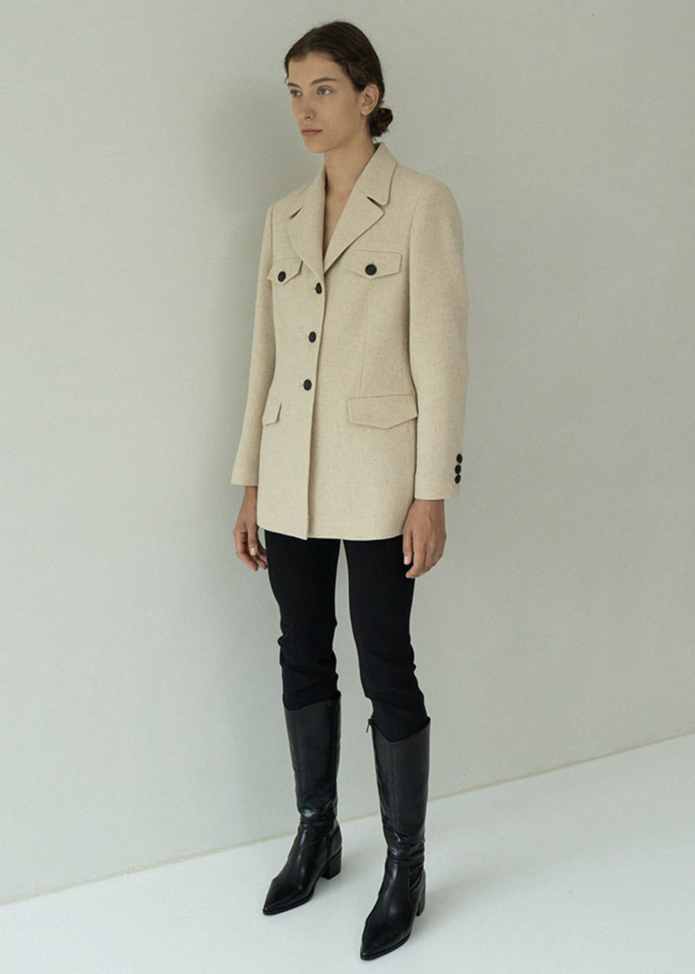 WOOL POCKET HALF JACKET LIGHT BEIGE