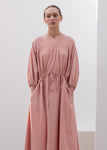 SHIRRED LONG DRESS PINK