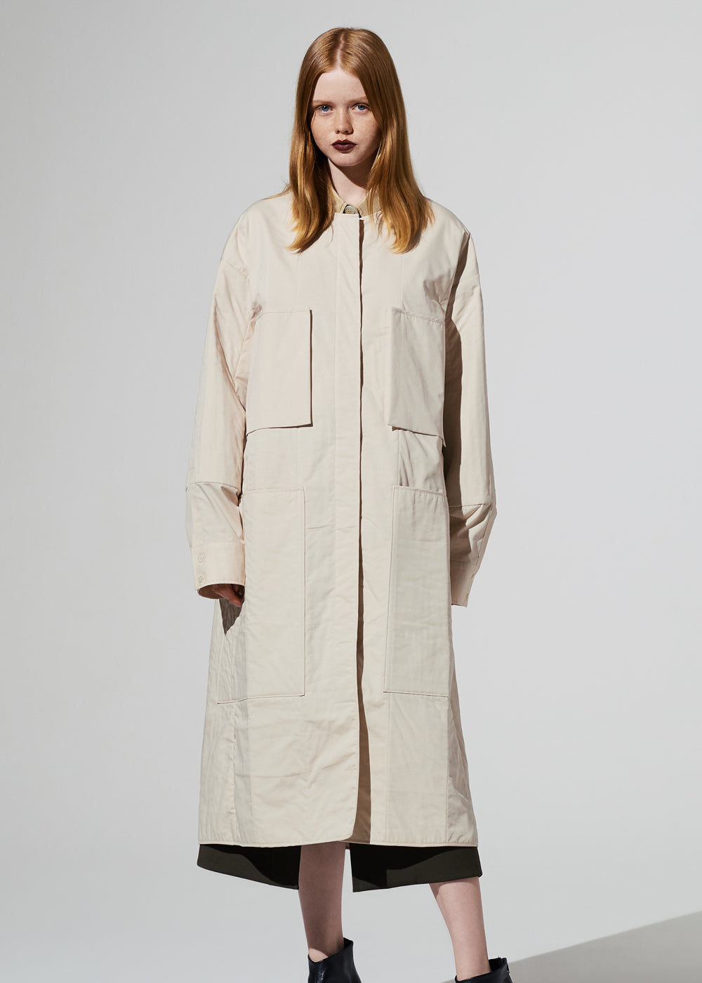 QUILTED LONG BLOUSON CREAM