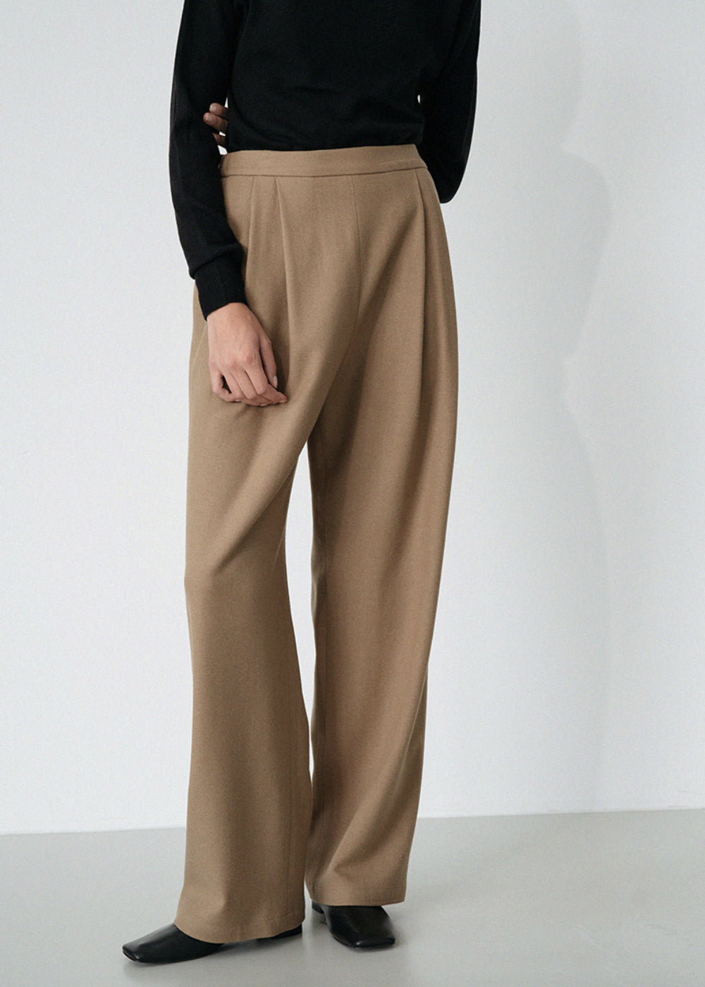 LE WOOL BAND PANTS BEIGE
