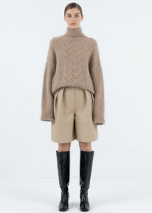 MOHAIR TWIST TURTLENECK SWEATER BEIGE
