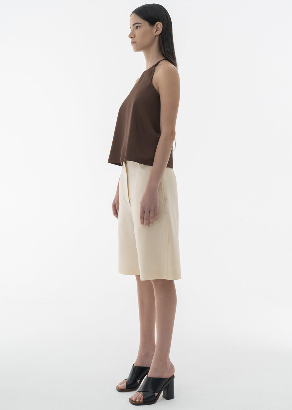 BACK OPEN SATIN SLIP TOP BROWN