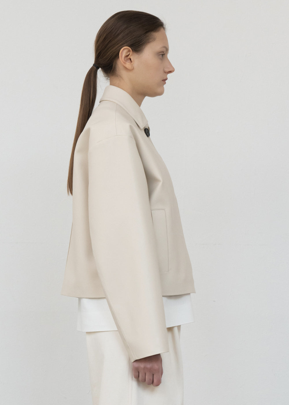 MODERN FAUX LEATHER JACKET IVORY