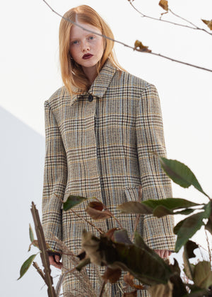 WOOL HARRIS TWEED LONG COAT