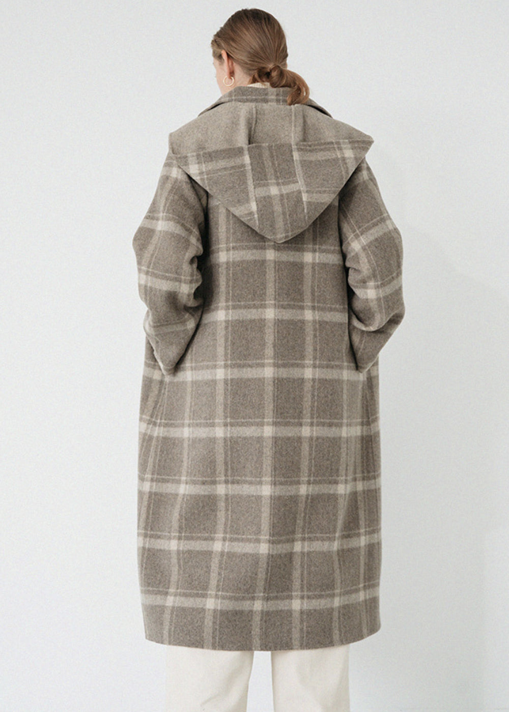 LE HANDMADE HOOD PLAID COAT BROWN