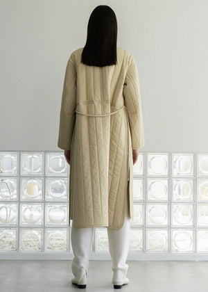 STRING PADDING COAT BEIGE