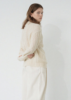 MOHAIR TWIST KNIT IVORY