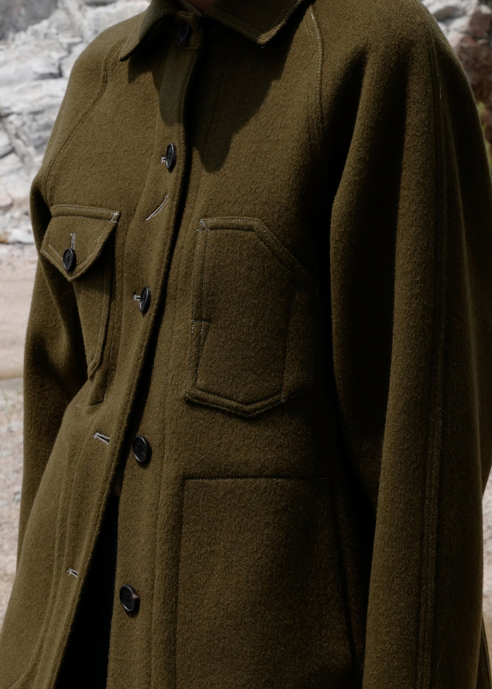 STITCH WOOL JACKET KHAKI
