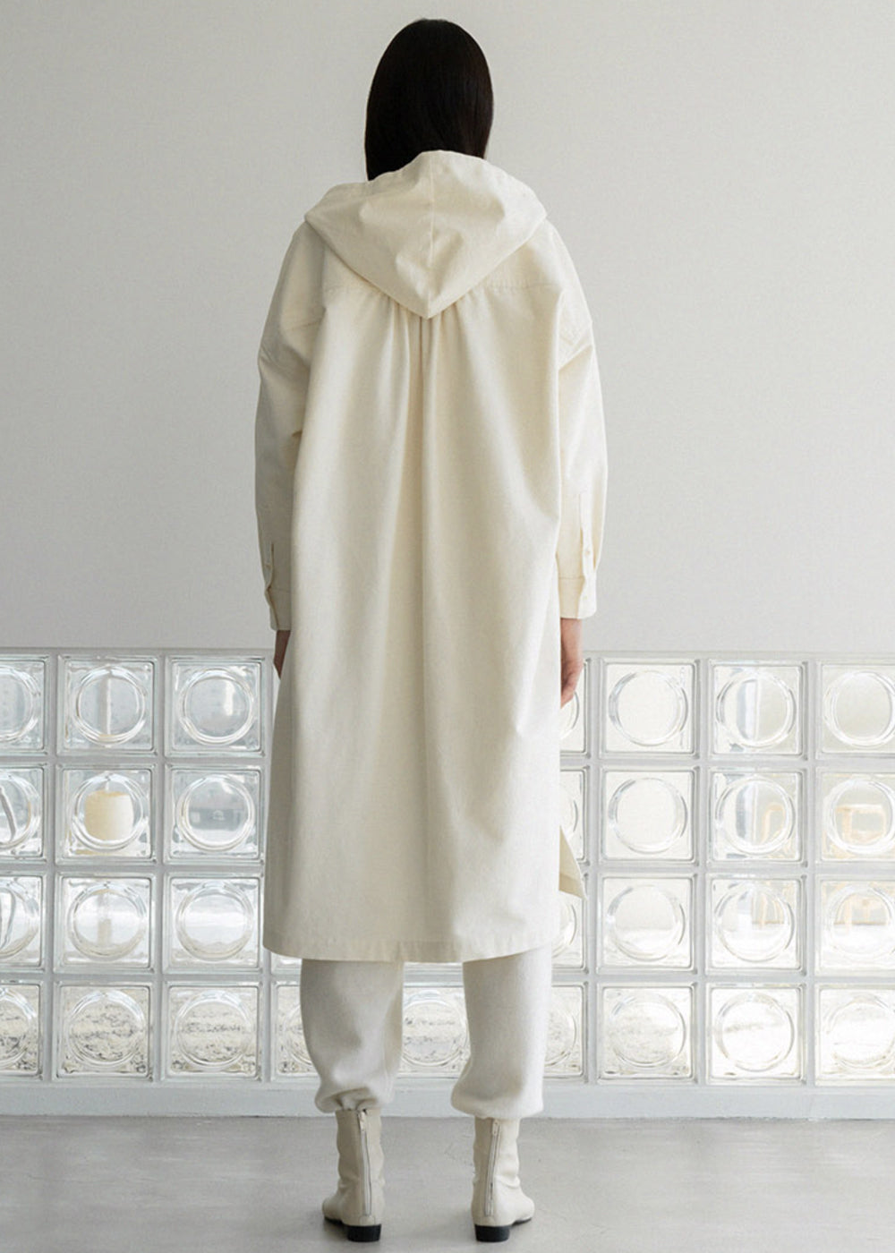 ORGANIC COTTON HOOD LONG JACKET IVORY