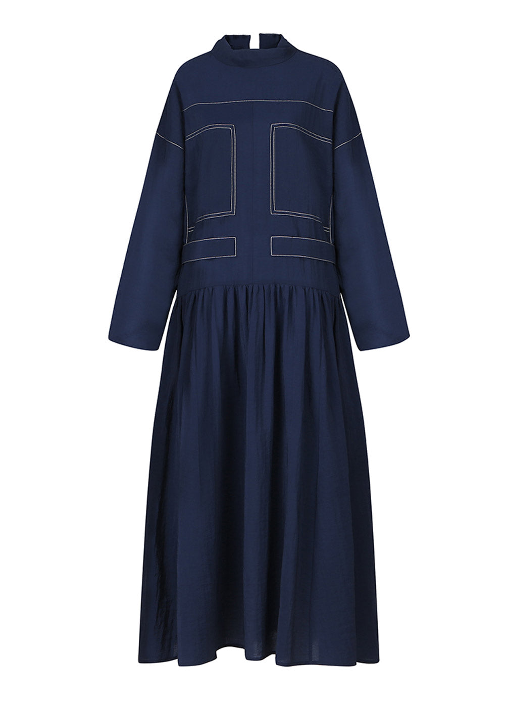 STITCHED LONG DRESS NAVY