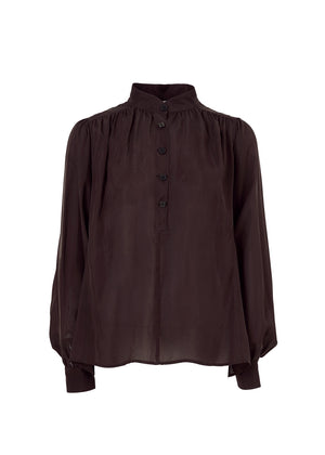 CUPRA SHIRRING BLOUSE BROWN