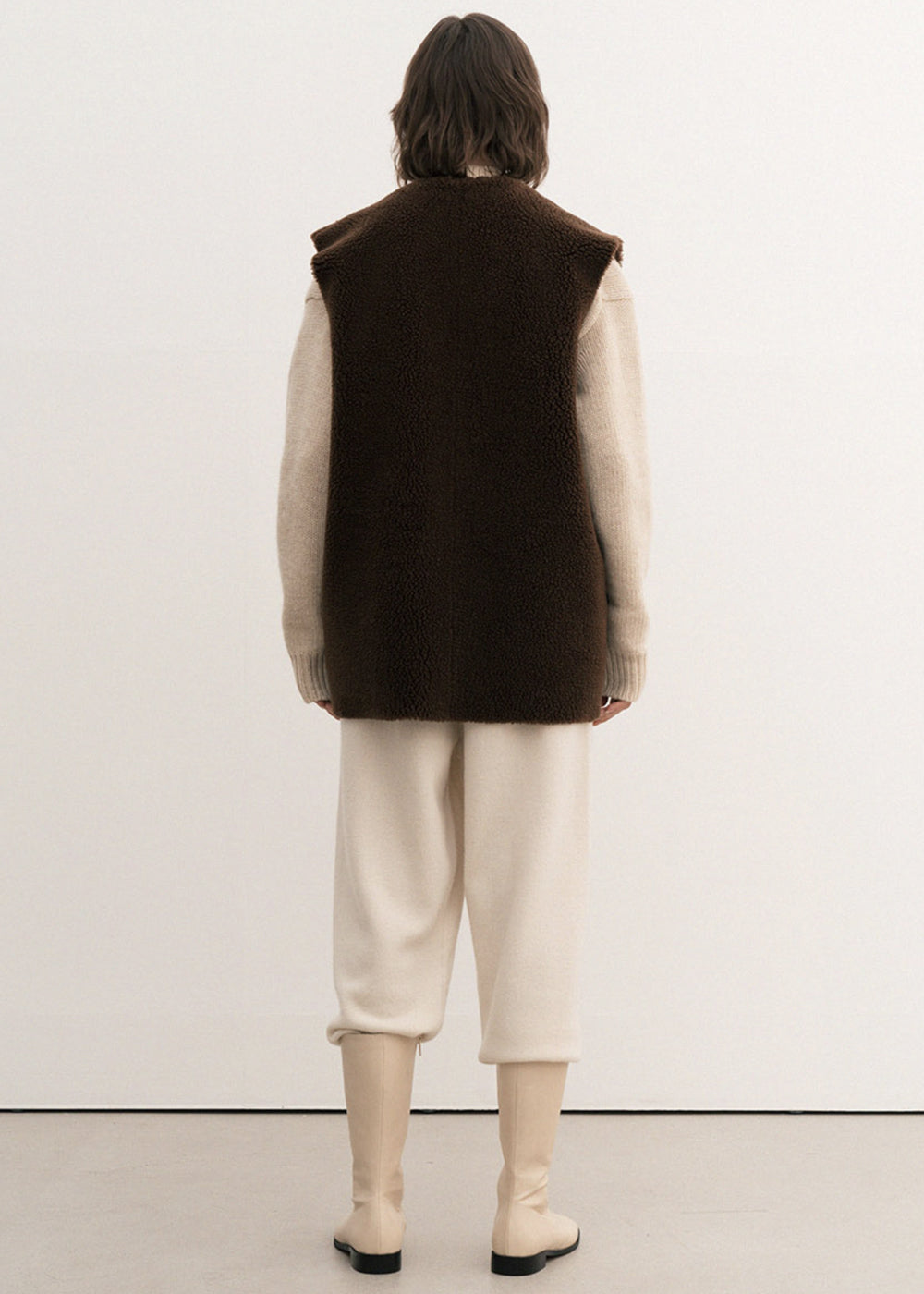 SHEARING POCKET VEST BROWN