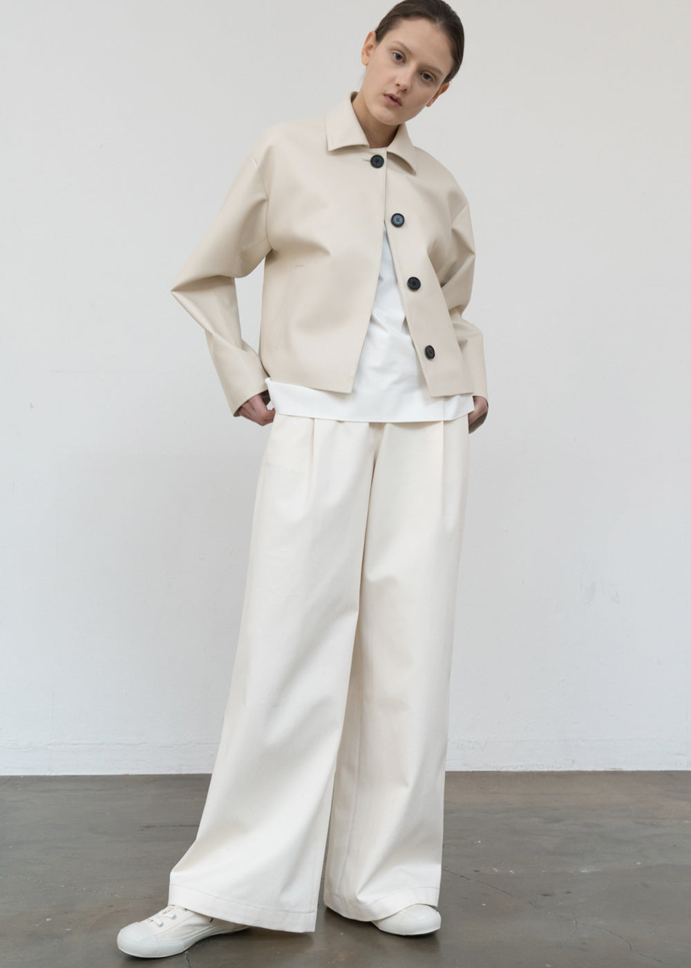 SINGLE WIDE PANTS CREAM