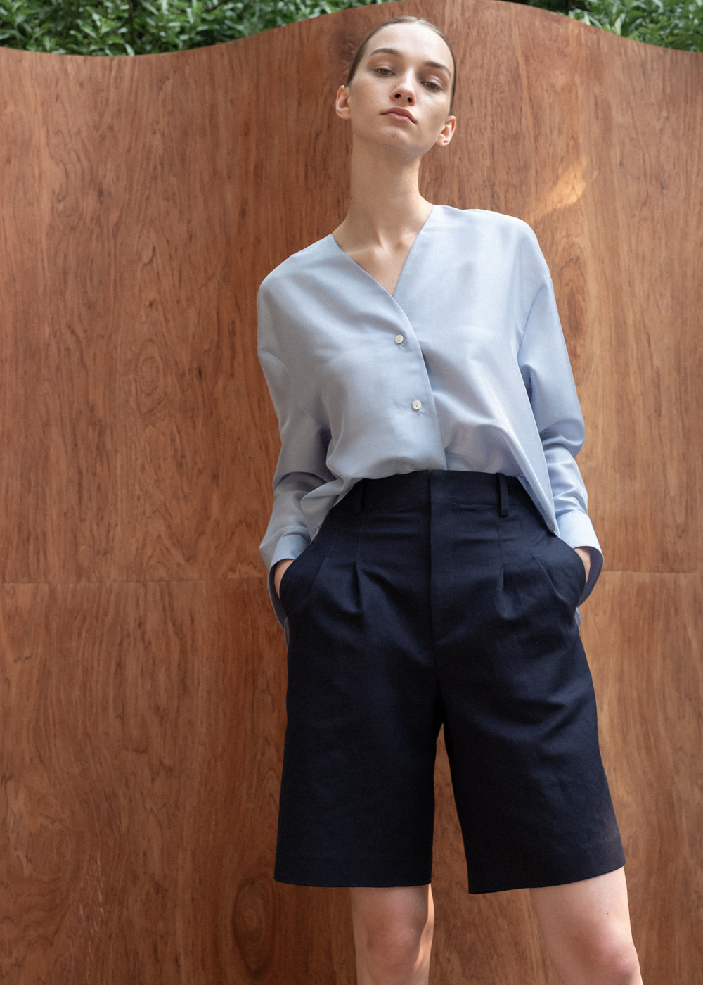 TWO PLEATS HALF PANTS NAVY