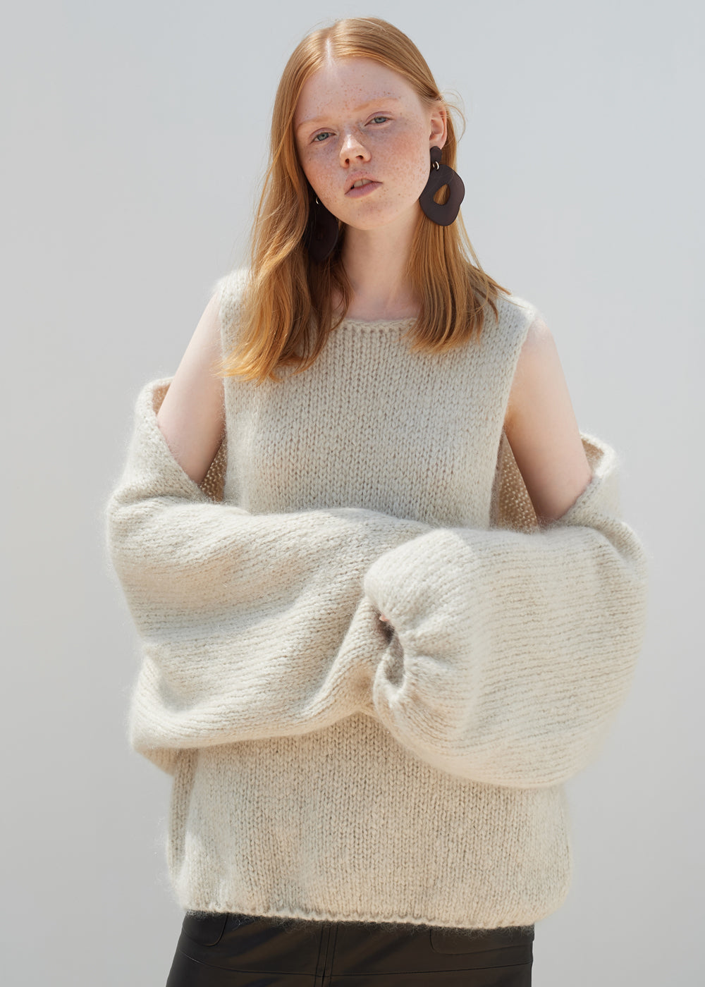 BOLERO KNIT MOHAIR SET CREAM