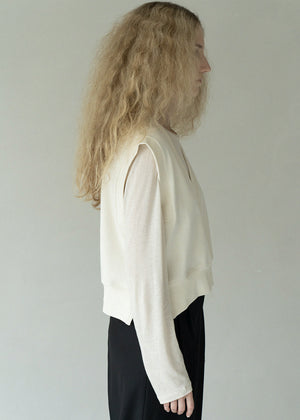 WOOL ROUNDNECK T SHIRT CREAM