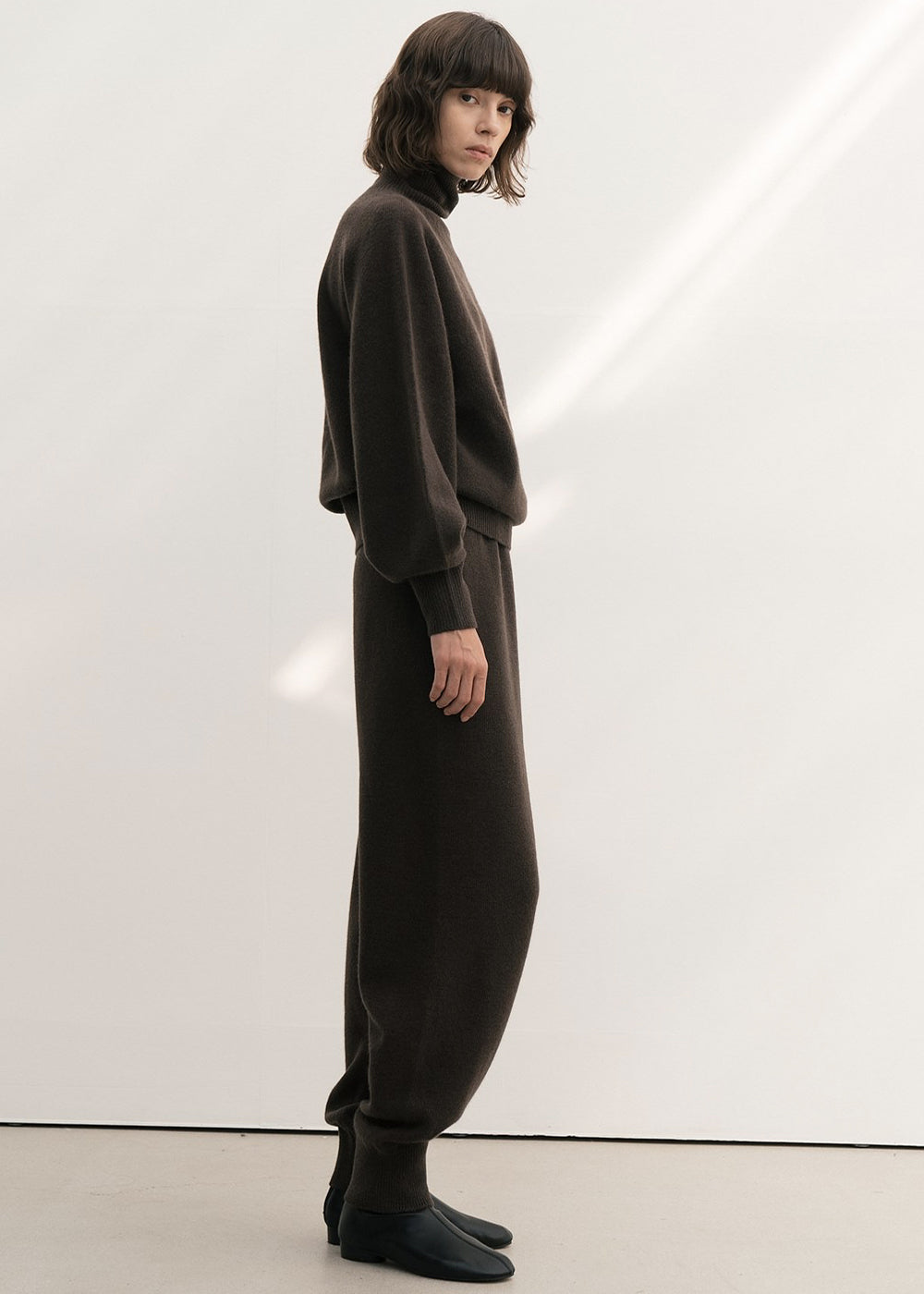 CASHMERE WHOLEGARMENT TURTLENECK SWEATER BROWN